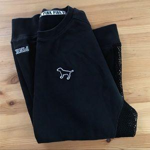 PINK Victoria's Secret black mesh sweatshirt